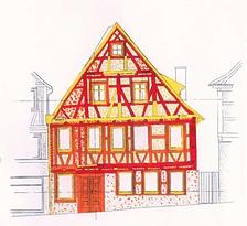 Ansicht von Süden mit Kartierung der wichtigsten Bauphasen (rot 17., orange 19., gelb 20. Jahrhundert, J. Gromer) / Wohn- und Geschäftshaus in 71522 Backnang