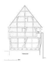 Herbholzheim, Hauptsrasse 105, Rekonstruktion der westlichen Giebelansicht / Wohn- und Geschäftshaus in 79336 Herbolzheim
