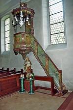 Kanzel in Litzelbergkapelle an nördlicher Langhauswand / Litzelbergkapelle in 79361 Sasbach am Kaiserstuhl (Fotoarchiv Freiburg, Landesamt für Denkmalpflege)
