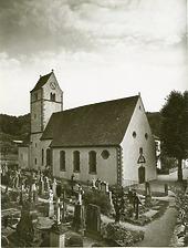 Kath. Pfarrkiche St. Vinzentius, Schliengen - Ansicht von Norden / Kath. Pfarrkirche St. Vinzentius in 79418 Schliengen-Liel (Fotoarchiv Freiburg, Landesamt für Denkmalpflege)