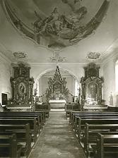 Kath. Pfarrkiche St. Vinzentius, Schliengen - Innenansicht in Richtung Osten (Chor) / Kath. Pfarrkirche St. Vinzentius in 79418 Schliengen-Liel (Fotoarchiv Freiburg, Landesamt für Denkmalpflege)