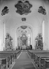 "Innenansicht St. Bartholomäus, Ettenheim / Kath. Pfarrkirche ""St. Bartholomäus"" in 77955 Ettenheim (1953/ 1970 - Fotoarchiv Marburg)"