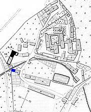 Kloster Bebenhausen: Lageplan nach dem Urkataster von 1825 / Kasernenhof, Werkstattgebäude in 72074 Tübingen-Bebenhausen