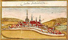 Die Zisterzienserabtei Bebenhausen. Ansicht aus dem Forstlagerbuch von A. Kieser, 1683 (Hauptstaatsarchiv Stuttgart) / Klosteranlage (ehemalige Zisterzienserabtei) in 72074 Tübingen-Bebenhausen