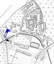 Kloster Bebenhausen: Lageplan nach dem Urkataster von 1825 / Kasernenhof, Scheune in 72074 Tübingen-Bebenhausen