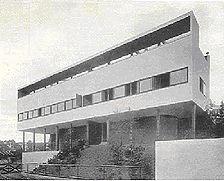 Das Doppelhaus von der Straßenseite. (aus: Das Werk 1927, S. 264) / Doppelwohnhaus, Le Corbusier / Pierre Jeanneret in 70191 Stuttgart, Stuttgart-Nord