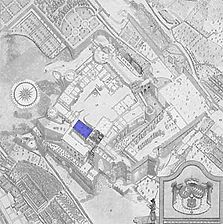 Lageplan (Vorlage Stich von 1790) / Friedrichsbau in Heidelberg, Altstadt