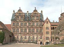 Ansicht vom Schloßhof / Friedrichsbau in Heidelberg, Altstadt