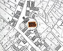 Auschnitt aus dem Urkataster von 1830 / Ev. Veitskirche, Kirchturm in 72147 Nehren
