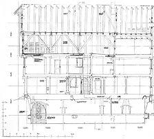 Längsschnitt durch das Gebäude (Juli 1989) / sog. Heiligenhaus in 72660 Beuren