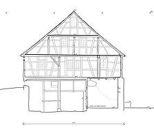 Querschnitt durch den Südflügel / Fachwerkgebäude an der Südseite der Hofanlage in 72574 Bad Urach - Seeburg, Hofgut Uhenfels