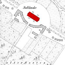 Ausschnitt Flurkarte 1908 (Vorlage LV-BW) / Solitude, Schloss in 70197 Stuttgart, Solitude