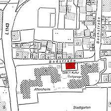 Ausschnitt Flurkarte um 1990 (?) (Vorlage LV-BW) / Schafhof-Herrenhaus in 70806 Kornwestheim