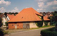 Ansicht der ehemaligen Kelter von Südwesten (um 1990) / Farrenstall bzw. Alte Kelter in 73770 Denkendorf