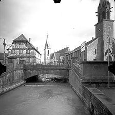 Photogrammetrische Aufnahme Ansicht von West, 1977 / Tulla-Brücke in 76356 Weingarten, Weingarten (Baden)