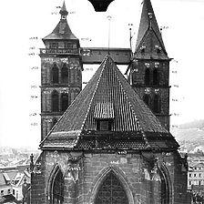 Photogrammetrische Aufnahme Ausschnitt Ansicht Ost, um 1970 / Ev. Stadtkirche St. Dionys in 73728 Esslingen am Neckar