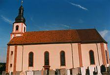 Buchen, Götzingen, Kath. Pfarrkirche,  Ansicht Süd / Kath. Pfarrkirche St. Bartholomäus in 74722 Buchen, Götzingen
