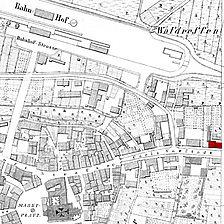 Flurkarte 1877 (Vorlage LAD) / ehem. Polizeigebäude in 74613 Öhringen