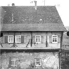 Ausschnitt photogrammetrische Aufnahme Ansicht Nordost, 1977 / Grosses Haus (Haus Schilling) in 72639 Neuffen