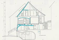 Bauaufnahme Gen. II, Querschnitt nach Westen / Wohnhaus in 74653 Ingelfingen