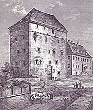 Heimsheim, Schlosshof, Steinhaus (Schleglerschloss), historische Ansicht / Steinhaus (Schleglerschloss) in 71296 Heimsheim