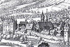 Mathäus Merian, Stadtansicht von Weinheim, (Ausschnitt), Kupferstich Topografia Germaniae 1645 / Schloss Weinheim, Kellergeschoss in 69469 Weinheim