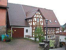 Westansicht des Gebäudes mit Anbau / Fachwerkwohnhaus in 74670 Forchtenberg