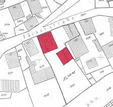 Lageplan mit Hervorhebung der zum Abbruch vorgesehenen Gebäude (2008) / Gasthaus Ochsen in 74206 Bad Wimpfen - Hohenstadt