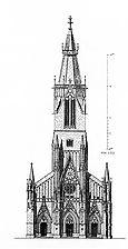 Aufriss der Turmfassade (nach Egle/Fiechter, Baustil- und Formenlehre, Bd. 3, S. 69) / Marienkirche (ev. Stadtkirche St. Maria), Turmhelm in 72764 Reutlingen