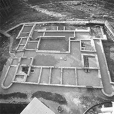 Luftbild römischer Gutshof von Nord, 1980 / Römischer Gutshof in 72379 Hechingen-Stein