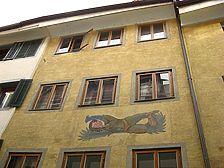 Fassadendetail 2. und 3. OG / Haus zum Jäger in 78462 Konstanz (22.07.2008 - Schoenenberg 2008)