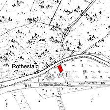 Flurkarte vor 1979 (Transloszierung des Gebäudes) (Vorlage LAD) / Gasthaus in 74545 Michelfeld
