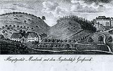 Gesamtansicht um 1825 / Sachgesamtheit Haupt- und Landgestüt Marbach in 72532 Gommadingen, Marbach an der Lauter, Landgestüt