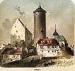 Historische Zeichnung, Ansicht von Süden / Wohnhaus mit Scheune (ehem. Torwächterhaus am Oberen Tor) in 74354 Besigheim (vor 1880 - Stadtarchiv Besigheim)