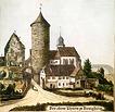 Historische Zeichnung, Ansicht von Süden / Wohnhaus mit Scheune (ehem. Torwächterhaus am Oberen Tor) in 74354 Besigheim (um 1880 - Stadtarchiv Besigheim)