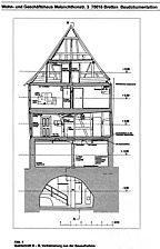 sog. Haus Strasser, Befundplan, Querschnitt B-B, Urheber: Urheber: Crowell, Barbara und Robert (Architekturbüro) / sog. Haus Strasser in 75015 Bretten