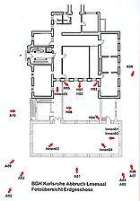 Bibliotheksanbau, Fotoübersicht, Erdgeschoss, Urheber: Baden-Baden, Staatl. Hochbauamt (Abteilung) / Bibliotheksanbau in 76133 Karlsruhe, Innenstadt-West