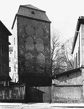 Hexenturm, Aufnahme vor 1931, Ansicht von Nordwesten, Urheber: Regierungspräsidium Karlsruhe, RPK, Ref. 26 / Hexenturm in 69117 Heidelberg-Altstadt