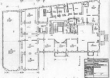 Schloßhotel, Grundriss, EG,  Urheber: Heidelberg, Vermögen und Bau Baden-Württemberg, Universitätsbauamt Heidelberg (Abteilung) / Schloßhotel in 69117 Heidelberg-Altstadt