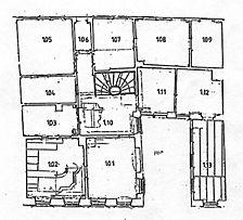 Heidelberg, Apothekergasse 3, Grundriss, 1. OG; Quelle: Peter Knoch (Bauforschung- und Dokumentation) / Wohn- und Geschäftshaus in 69117 Heidelberg-Altstadt