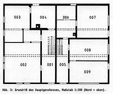 Doppelhaus, Grundriss, EG,  Urheber:: Reck, Hans-Hermann (Büro für Bauhistorische Gutachten) / Doppelwohnhaus in  6941 Eberbach-Igelsbach