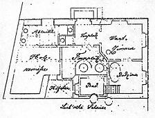 Badhaus, historischer Plan, Grundriss, Urheber: Reidel, Friedrich (Architekt) / ehem. Synagoge mit Badehaus in 69502 Hemsbach