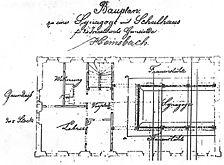 ehem. Synagoge, historischer Plan, Grundriss, EG, Urheber: Reidel, Friedrich (Architekt) / ehem. Synagoge mit Badehaus in 69502 Hemsbach