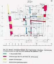 """ehem. Gasthaus """"Zum Löwen"""", Befund- und Bauperiodenplan, EG Quelle: Hans-Hermann Reck / Ehem. Gasthaus """"Zum Löwen"""" in 74889 Sinsheim-Hilsbach"""