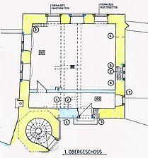 """Sog. Kommandantenhaus, """"Popposches Schlößchen"""", Bauphasenplan, Grundriss, 1. OG Quelle: Säubert/Lorenz (Karlsruhe) / sog. Kommandantenhaus, """"Popposches Schlößchen""""  in 69151 Neckargmünd-Dilsberg"""