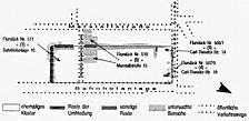 Lageplan  Franziskanerkloster Quelle: Kleinert und Partner, Atelier für wissenschaftliche Restaurierung, Karlsruhe / Franziskanerkloster in 68723 Schwetzingen