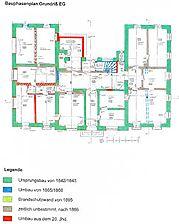 Pfarrzentrum, ehem. Rat- und Schulhaus, Bauphasenplan, Grundriss, EG Quelle: Barbara und Robert Crowell (Diplomingenieure Freie Architekten)  / Pfarrzentrum, ehem. Rat- und Schulhaus in 68789 St. Leon-Rot