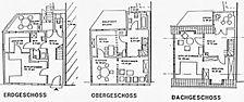 Wohnhaus, Grundrisse: EG, OG, DG Quelle: G.L. & H.-P. Wolf (freie Architekten) / Wohnhaus in 69469 Weinheim