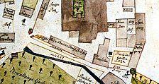 Lageplan des südlichen Klausurbereiches, mit Holz und Chaisenremise (1802, Riekert) / ehemalige Holz und Chaisen Remise in 72074 Tübingen-Bebenhausen