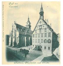 Hist. Postkarte (Druck u. Verlag von K. Liebhardt & Co, Esslingen) mit Ansicht des Rathauses / Altes Bezirksrathaus, Rathaus in 70372 Stuttgart, Bad Cannstatt